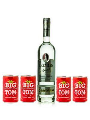Vodka Kremlin Award Classic  0,7 l + 4 db Big Tom 0,15 l (1,3L 40%)