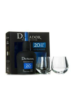 Rum Dictador 20 éves 2 pohárral (0,7 l, 40%)
