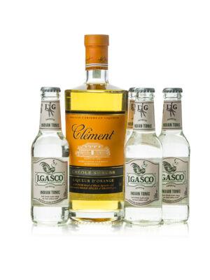 Rum Clement Shrubb Creole + 4 db J.Gasco Indian Tonic (0,7 l +4X0,2 l, 40%)