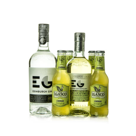 Gin Edinburgh Dry (0,7 l, 43%) + Elderflower Gin Likőr (0,5 l, 20%) + 4 db J.Gasco Lemonade (4X0,2l)