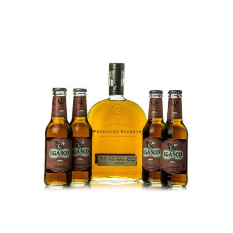 Woodford Reserve + 4 db J.Gasco Cola (0,7 l + 4X0,2 l, 43,2%)